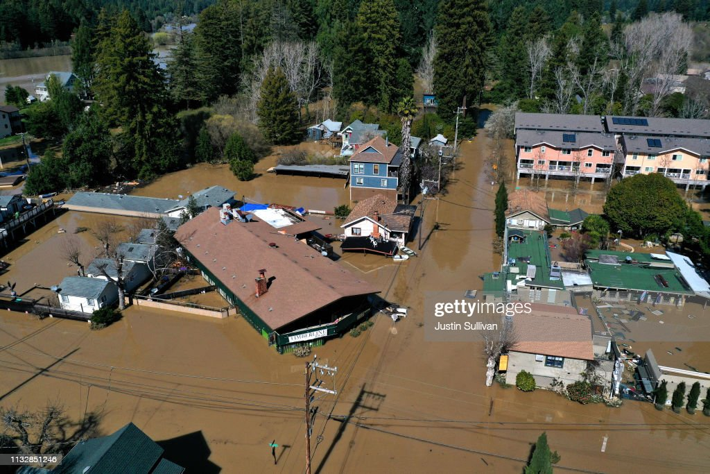 """Sonoma County Town Of Guerneville Inundated With Flood Waters From """"Atmospheric River"""" Weather System : News Photo"""