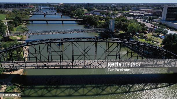 An aerial view as Age Group athletes compete in the bike and run portions during the IRONMAN 70.3 Waco event on October 27, 2019 in Waco, Texas.