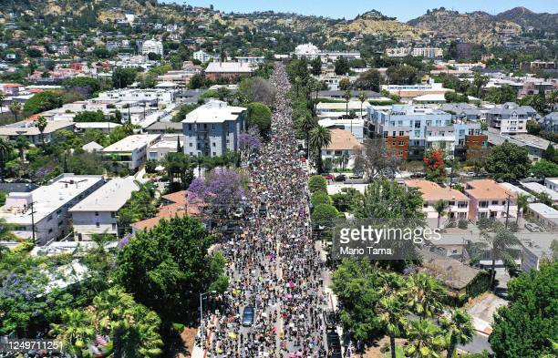 An aerial view as protesters walk during the All Black Lives Matter solidarity march, replacing the annual gay pride celebration, as protests...