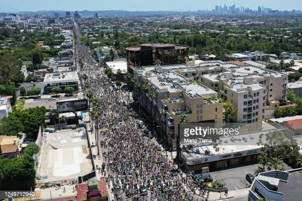 An aerial view as protesters walk on Sunset Boulevard during the All Black Lives Matter solidarity march replacing the annual gay pride celebration...