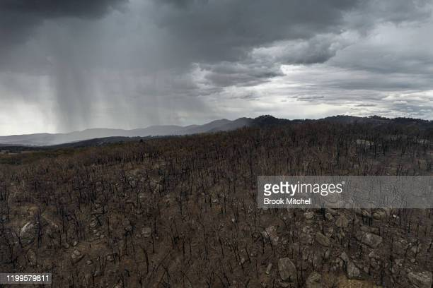 An aerial view as rain begins to fall on drought and fireravaged country near Tamworth ahead of predicted further wet weather across NSW and Victoria...