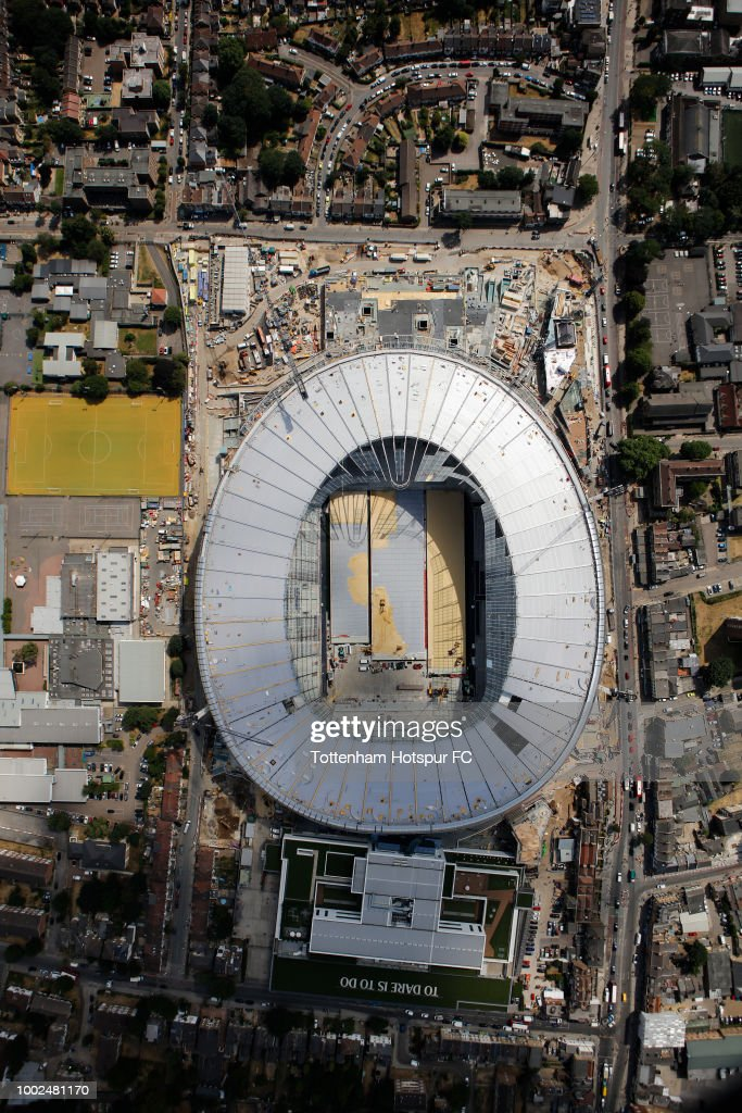 An aerial view as work continues on Tottenham Hotspur's new stadium at White Hart Lane on July 16, 2018 in London, England.