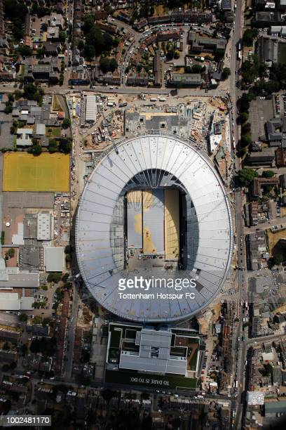 An aerial view as work continues on Tottenham Hotspur's new stadium at White Hart Lane on July 16 2018 in London England