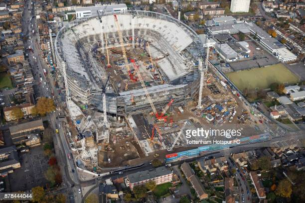 An aerial view as work continues on Tottenham Hotspur's New Stadium at White Hart Lane on November 16 2017 in London England