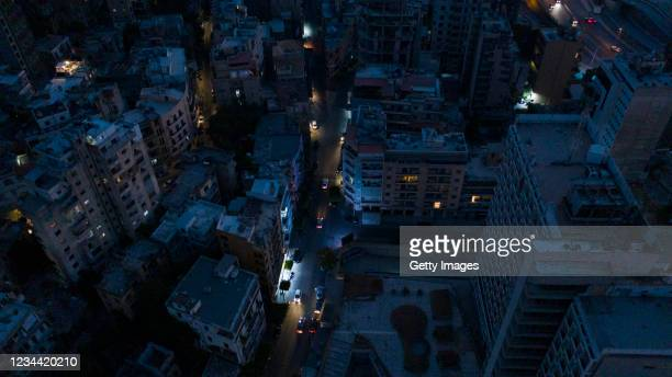 An aerial view at dusk of the Mar Mikhael neighborhood near the port during a power outage on August 2, 2021 in Beirut, Lebanon. Electricite du Liban...