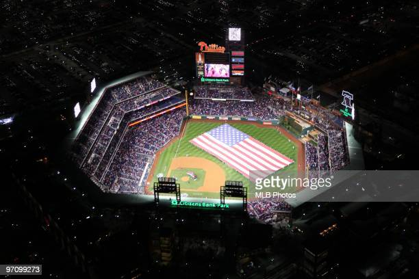 An aerial view before the Philadelphia Phillies and the Los Angeles Dodgers in Game Three of the NLCS during the 2009 MLB Playoffs at Citizens Bank...