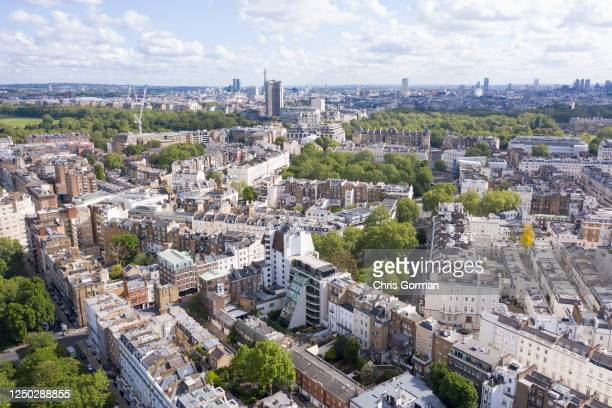 An aerial view by drone looking towards Belgravia viewed by drone from Chelsea on May 14,2020 in London,England.