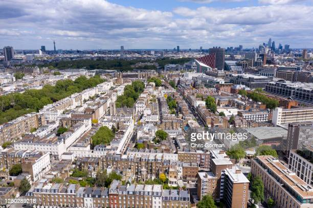 An aerial view by drone looking towards Eaton Square Gardens in London's Belgravia looking East towards Buckingham Palace on May 14,2020 in...