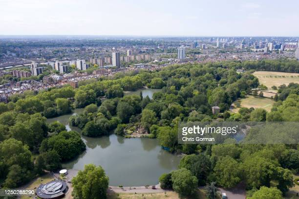 An aerial view by drone of Battersea Park on June 9,2020 in London.