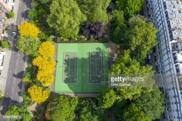 An aerial view by drone of Cadogan Place Park in Chelsea on May 14,2020 in London,England.