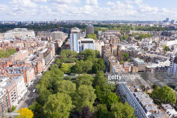 An aerial view by drone of Cadogan Place Park in Chelsea with Hyde Park behind on May 14,2020 in London,England.