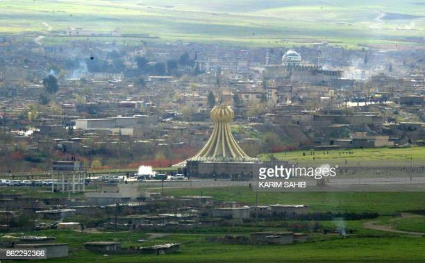 An aerial view dated 16 March 2004 of the Kurdish Iraqi town of Halabja near the Iranian border where 5000 Kurds were gassed by Saddam Hussein's...