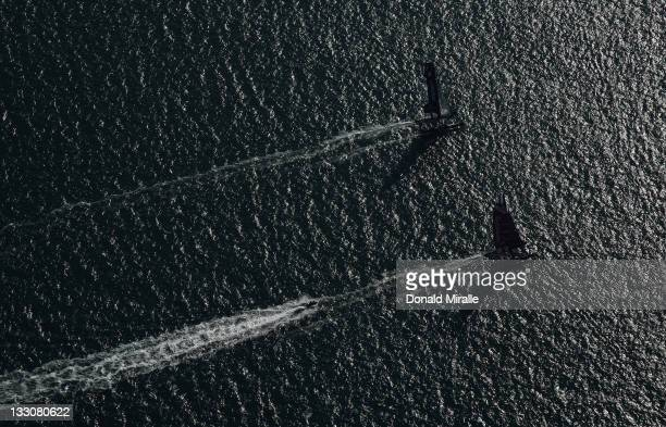 An aerial view during the America's Cup World Series San Diego Match Racing Championship Fleet Race on November 16 2011 at San Diego Bay in San Diego...