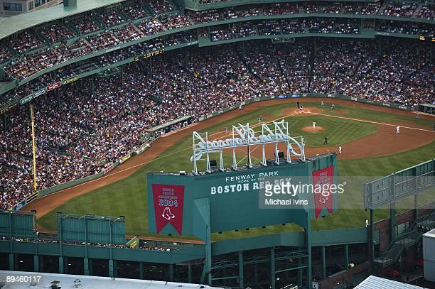An aerial view during the game between the Texas Rangers and the Boston Red Sox on August 14, 2008 at Fenway Park in Boston, Massachusetts.