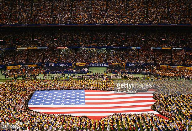 An aerial view during the singing of the National Anthem at the National Championship Nokia Sugar Bowl between LSU and Oklahoma is shown on January 4...