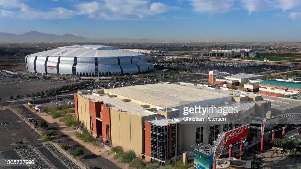 An aerial view from a drone of Gila River Arena and State Farm Stadium before the NHL game between the Arizona Coyotes and the Minnesota Wild on...