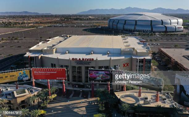 An aerial view from a drone of Gila River Arena before the NHL game between the Colorado Avalanche and the Arizona Coyotes on February 27, 2021 in...