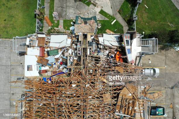 An aerial view from a drone shows a damaged hotel after Hurricane Laura passed through the area on August 27, 2020 in Lake Charles, Louisiana. The...