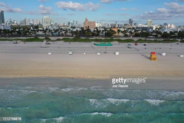 An aerial view from a drone shows an area of South Beach that the city closed in an effort to prevent the spread of the coronavirus on March 16, 2020...