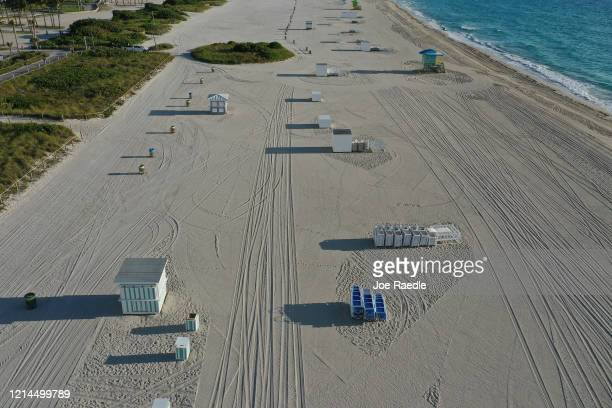 An aerial view from a drone shows an empty, closed beach as the city continues its efforts to prevent the spread of the coronavirus on March 24, 2020...