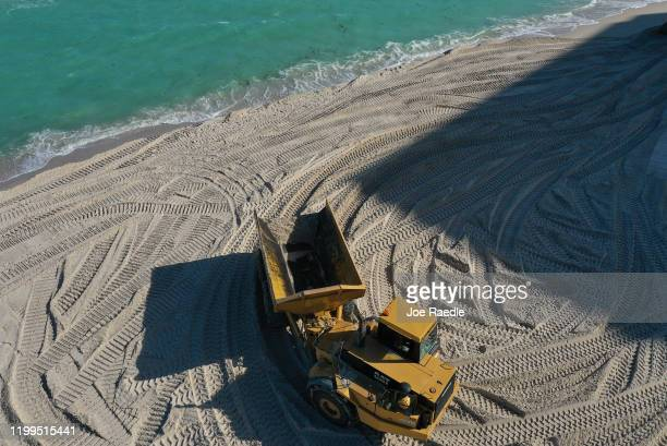 An aerial view from a drone shows as construction work by the US Army Corps of Engineers distributes sand along the beach on January 14 2020 in Miami...