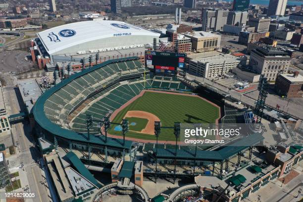 An aerial view from a drone shows Comerica Park where the Detroit Tigers were scheduled to open the season on March 30th against the Kansas City...