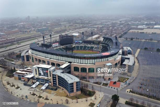 An aerial view from a drone shows Guaranteed Rate Field, home of the Chicago White Sox, which, like all Major League Baseball parks sits nearly empty...