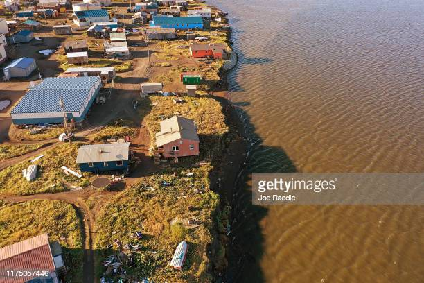 An aerial view from a drone shows how close some of the homes are to the lagoon on September 13 2019 in Kivalina Alaska Kivalina which is at the very...