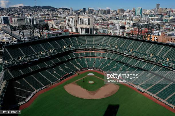 An aerial view from a drone shows Oracle Park home of the San Francisco Giants empty on Opening Day March 26 2020 in San Francisco California Major...
