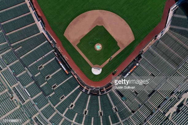 An aerial view from a drone shows Oracle Park, home of the San Francisco Giants, empty on Opening Day March 26, 2020 in San Francisco, California....