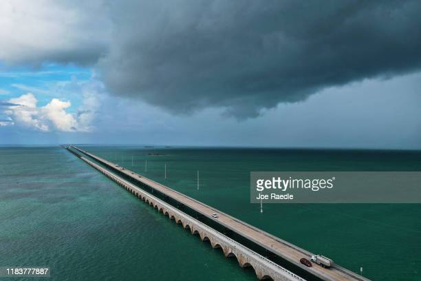 An aerial view from a drone shows part of the Seven Mile bridge running over the Strait of Florida on October 25 2019 in Bahia Honda Key Florida...