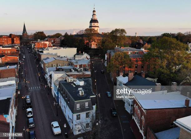 An aerial view from a drone shows the 248 year-old Maryland State House, on April 16, 2020 in Annapolis, Maryland. Maryland Governor Larry Hogan...