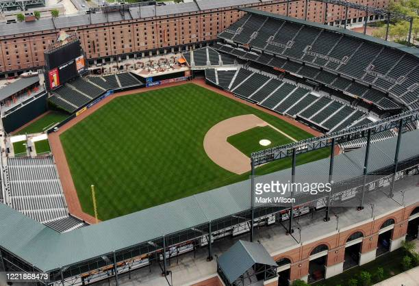 An aerial view from a drone shows the Camden Yards baseball stadium on April 29 2020 in Baltimore Maryland Baseball season has been put on hold due...
