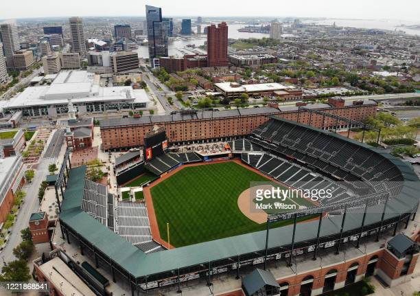 An aerial view from a drone shows the Camden Yards baseball stadium on April 29, 2020 in Baltimore, Maryland. Baseball season has been put on hold...