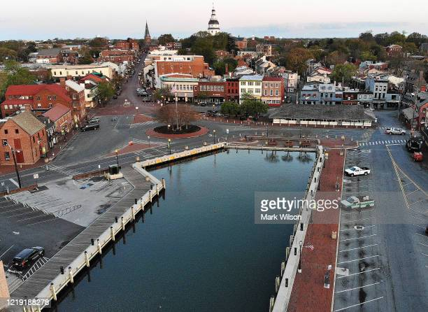 An aerial view from a drone shows the city dock that located in the center of the historic district, on April 16, 2020 in Annapolis, Maryland....