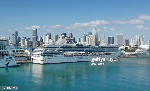 An aerial view from a drone shows the cruise ship Coral Princess after it docked at Port Miami on April 04 2020 in Miami Florida Reports indicate...