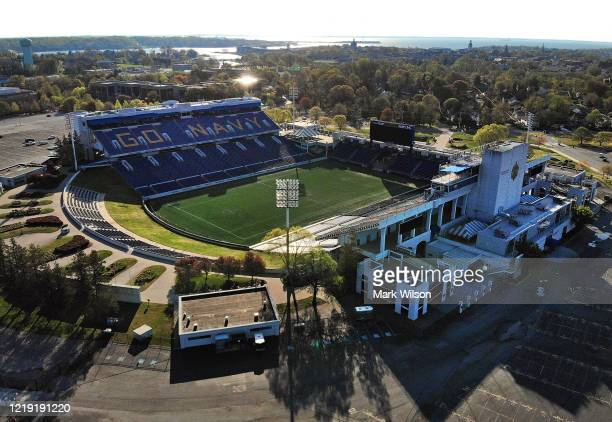 An aerial view from a drone shows the U.S. Naval Academy's Navy–Marine Corps Memorial Stadium, on April 16, 2020 in Annapolis, Maryland. The Academy...