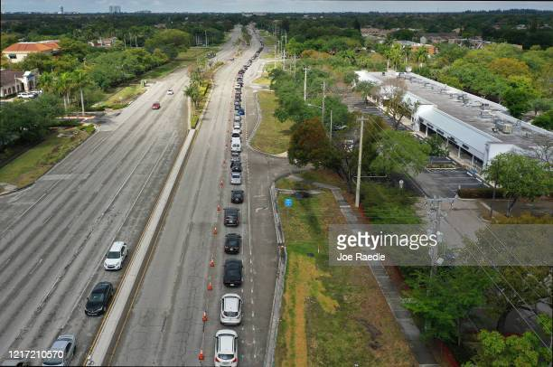 An aerial view from a drone shows vehicles lineup to receive food provided by the food bank Feeding South Florida and being given away by the City of...
