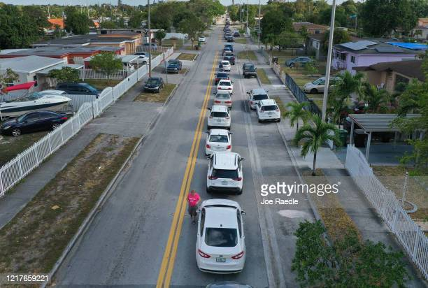An aerial view from a drone shows vehicles lining up to receive unemployment applications being given out by City of Hialeah employees in front of...