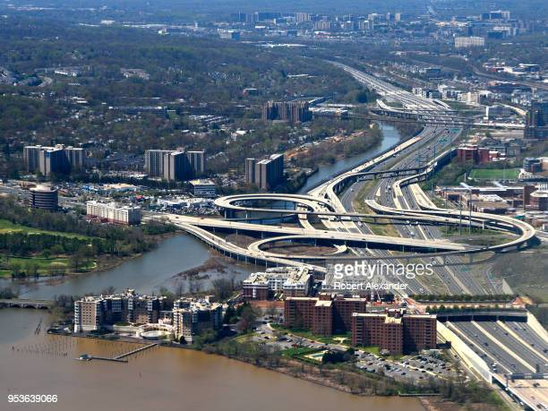 An aerial view from a passenger aircraft on its approach to Ronald Reagan Washington National Airport in Washington DC shows the Capital Beltway...