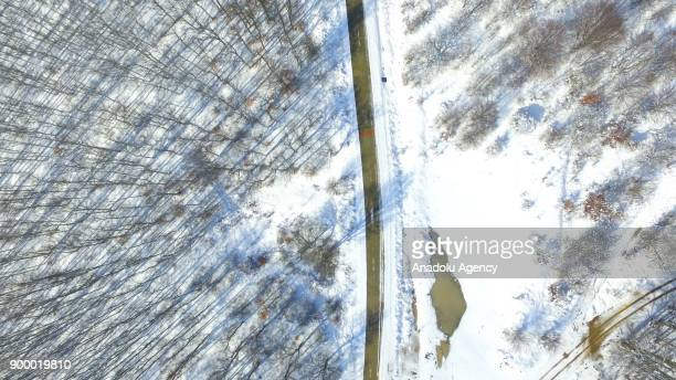 An aerial view from the Istranca Mountains consisting of oak and pine trees is seen after the snowfall in Kirklareli Turkey on December 31 2017