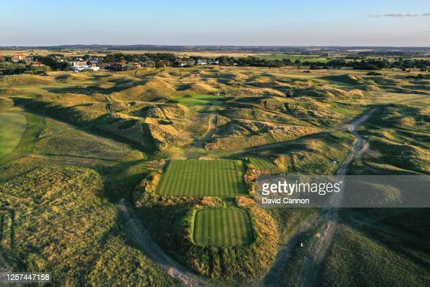 An aerial view from the tee of the par 3, sixth hole at the host venue for the 2021 Open Championship at The Royal St. George's Golf Club on July 20,...