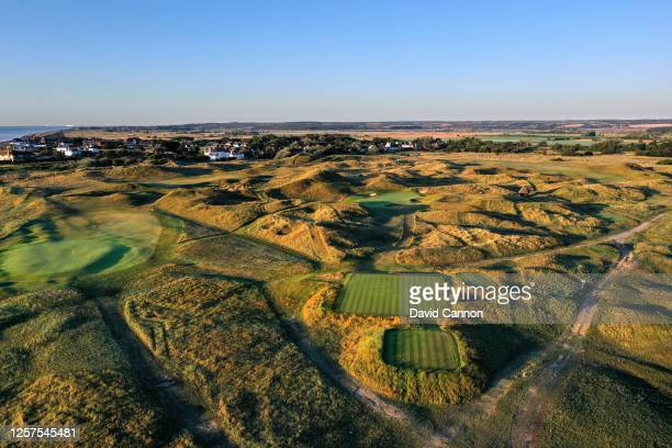 An aerial view from the tee of the par 3, sixth hole with the par 4, fifth hole to the left at the host venue for the 2021 Open Championship at The...