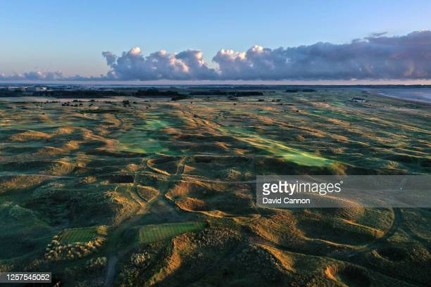 An aerial view from the tee of the par 4 ninth hole with the par 4 10th hole at the host venue for the 2021 Open Championship at The Royal St...