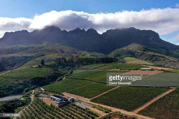 An aerial view Hidden Valley Wines vineyard winery and visitors center on the slopes of the Helderberg mountains on February 27 2020 near...