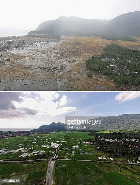 In this composite image a comparison has been made between a scene in 2004 and 2014 IMAGEBANDA ACEH INDONESIA DECEMBER 11 An aerial view in Lampuuk...