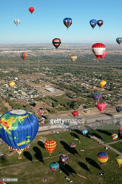 An aerial view is seen during the 33rd annual Albuquerque International Balloon Fiesta 'Freedom in the Air' with over 750 balloons and 100000...