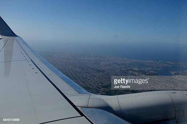 An aerial view is seen from a Miamibound American Airlines charter plane taking off from José Martí International Airport on March 1 2015 in Havana...