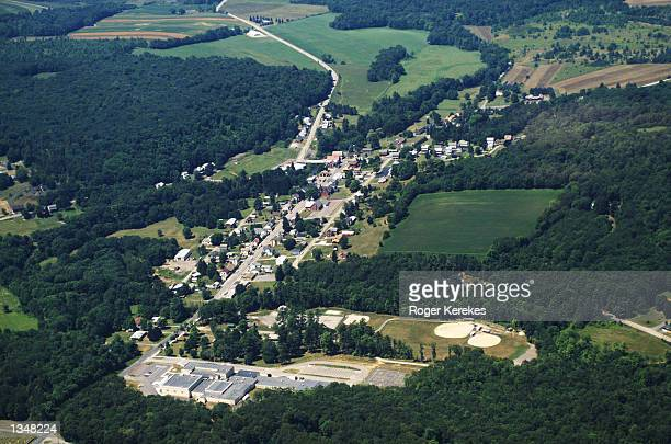 An Aerial view is seen July 26 2002 of Shanksville Pennsylvania The September 11 hijacked United Flight 93 crashed about 2 and a half miles from the...