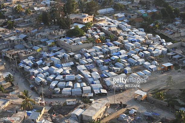 An aerial view is seen on January 10 2011 of a tent city in a PortauPrince one year after the quake of January 12 2010 in PortauPrince AFP...